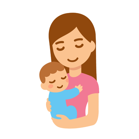 Cute cartoon mother and baby embrace. Young woman holding child. Isolated vector illustration. Illustration