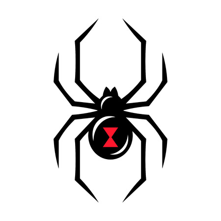 Black widow spider icon isolated on white background. Creepy spider logo vector illustration.