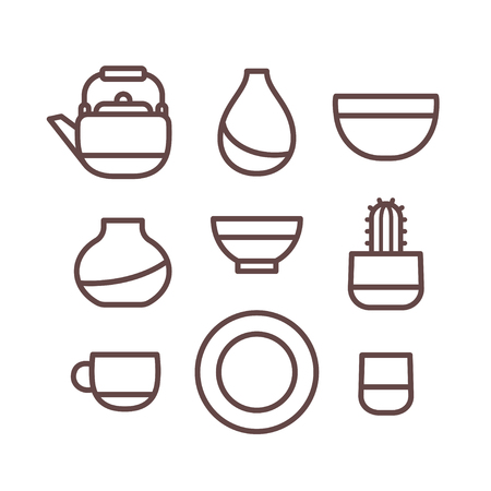 earthenware: Ceramic dishes set, cups, pots and bowls. Pottery line icons, isolated vector illustration. Illustration