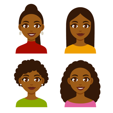Cute cartoon black girls with natural hairstyles and straightened hair. Pretty African American women faces vector illustration set. Иллюстрация