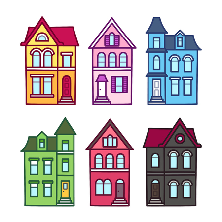 edwardian: Old Victorian houses, vector illustration set. Colorful hand drawn architecture elements.
