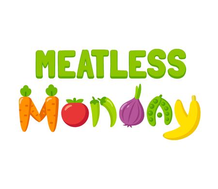 Bandera de lunes sin carne con verduras brillantes de dibujos animados. Planta basada dieta ilustración vectorial.