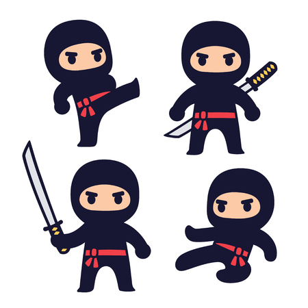 Cute cartoon ninja set with katana sword, different fighting poses. Isolated vector clip art illustration. Illustration