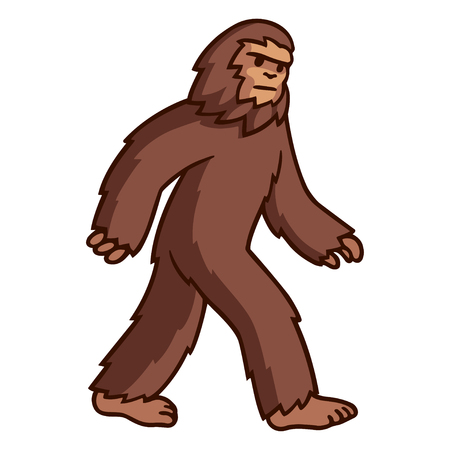 Comic style cartoon bigfoot walking. Mythical creature vector clip art illustration.