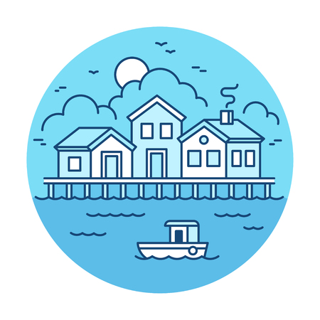 pier: Fisherman village landscape with wooden houses and fishing boat. Simple modern flat line style vector illustration.
