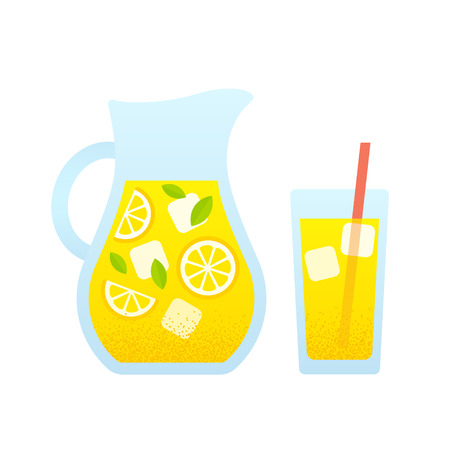 Lemonade glass and pitcher with lemons and ice cubes. Isolated vector illustration in simple cartoon style. Vettoriali