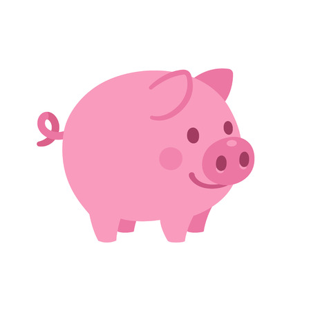 Cute cartoon pig vector illustration. Little smiling pink piglet drawing.
