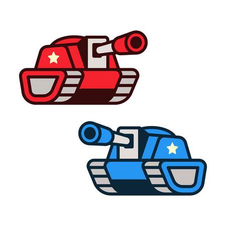 Dibujos animados de los iconos del tanque, fuerzas opositoras rojas y azules. Juego de arte o elemento de infografía ilustración vectorial. Vectores