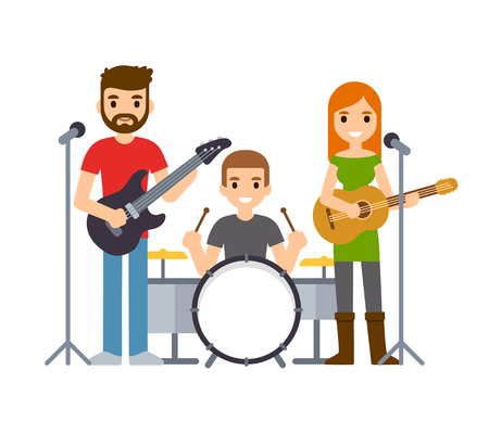 Indie rock band, male and female singers with guitars and drummer. Cute cartoon vector musicians illustration. Illustration
