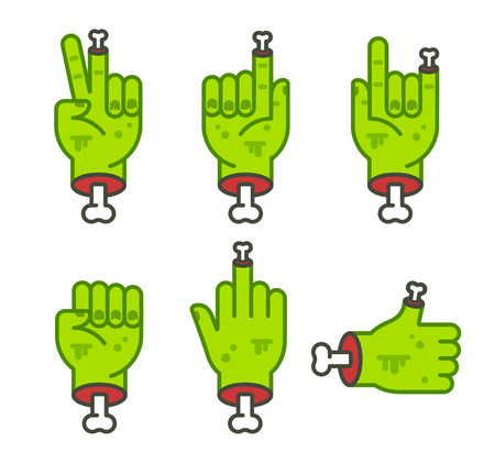 Severed zombie hand gesture set. Cool cartoon Halloween sticker pack. Vector clip art illustration. Illustration