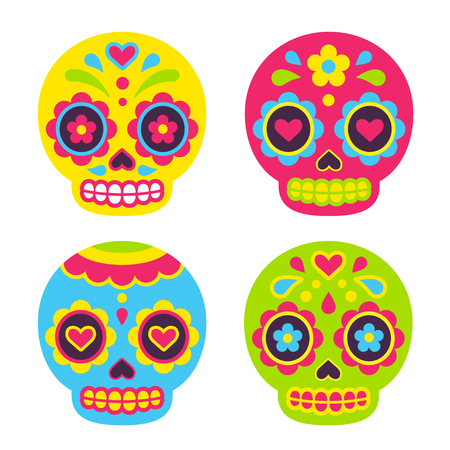 Meksykańskie cukrowe czaszki Dia de los Muertos (Dzień Zmarłych). Ładny prosty wektor ilustracja w stylu cartoon płaski. Ilustracje wektorowe
