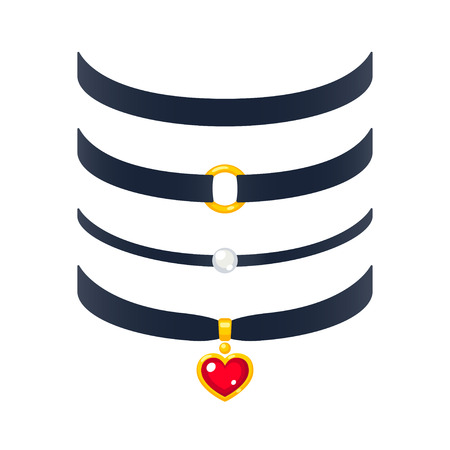 Set of realistic choker necklaces, vector illustration. Fashion jewelry with pearl and gold heart pendant. Illustration