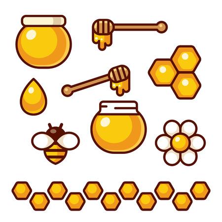 Honey icon set. Bee and flower, honey jar and spoon. Cartoon vector clip art illustration. Illustration
