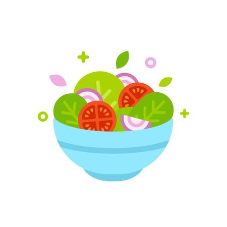 Salad bowl vector illustration. Simple flat cartoon design food icon. Illustration