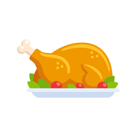 Roast turkey or chicken clip art illustration in flat cartoon vector style. Roasted poultry on plate decorated with lettuce and tomatoes. Illustration