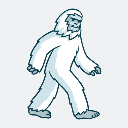 Cartoon yeti monster illustration. White hairy beast drawing. Çizim
