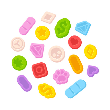 Heldere die cartoonverrukking MDMA pillen op witte achtergrond worden geïsoleerd. Illegale recreatieve drugs vectorillustratie. Stock Illustratie