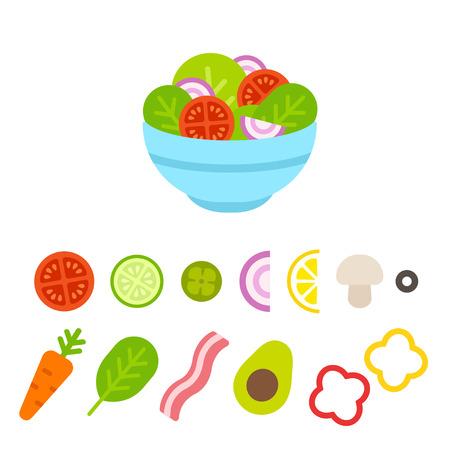 Salad bowl constructor, cartoon vegetable set. Flat design food icons vector illustration.