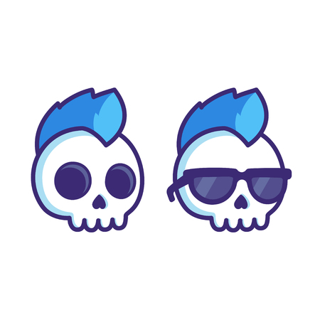 Cool cartoon punk rock skull with mohawk and sunglasses. Comic style vector illustration for sticker or logo.