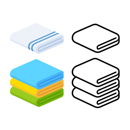 Set von Handtuch Vektor Illustrationen. Gefaltete Handtücher in flacher Karikatur und Line-Icon-Stil.