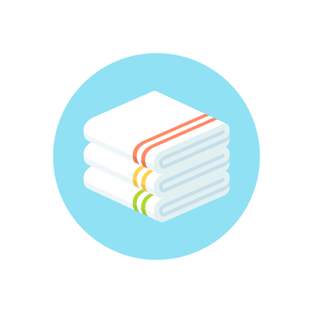 Stack of folded towels, flat cartoon style vector icon.
