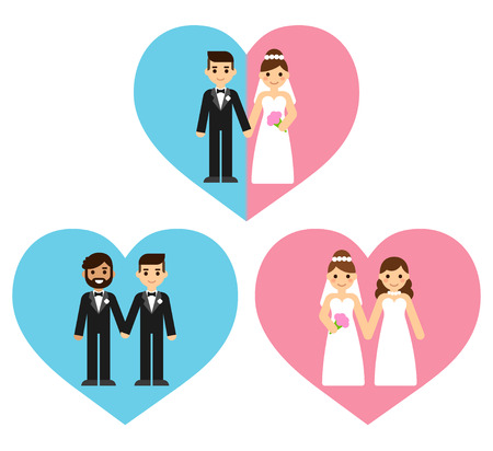 Equal marriage concept illustration. Cute cartoon gay and straight couples in wedding attire holding hands inside heart shape.