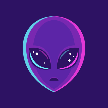 Alien face with large eyes. Extraterrestrial humanoid head vector illustration.