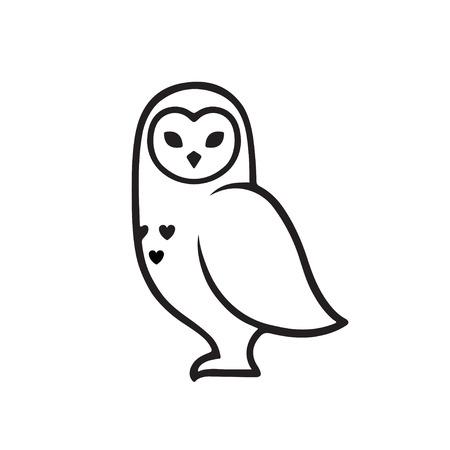 White polar owl minimal logo, stylized line icon. Vector illustration.