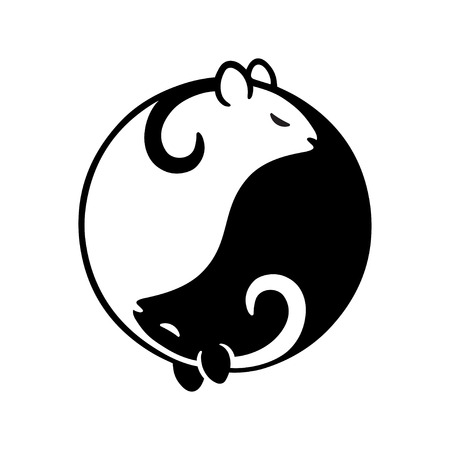 Black and white rat or mouse in yin yang shape. Beautiful stylized vector illustration.