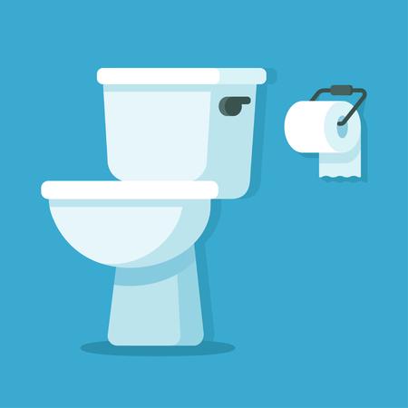Tazza della toilette con rotolo di carta igienica. Illustrazione di vettore del fumetto piatto semplice.