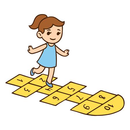 recess: Cute little girl playing hopscotch. Cartoon child vector illustration.