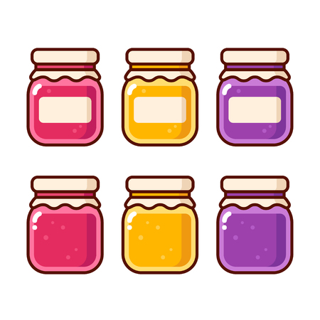 Bright cartoon jam icon set. Fruit preserves in glass jars vector illustration collection. Illustration
