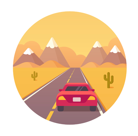 American highway travel vector illustration. Red car on a road trip through desert.