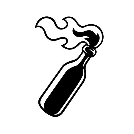Icona o logo di una bottiglia di cocktail molotov. Illustrazione vettoriale in bianco e nero moderno fumetto.