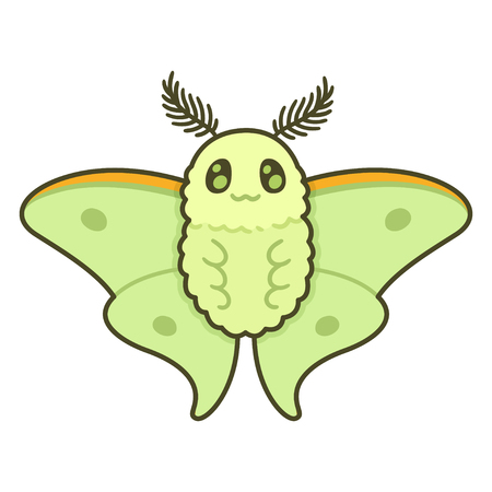 Cute cartoon Luna moth. Funny vector butterfly illustration.