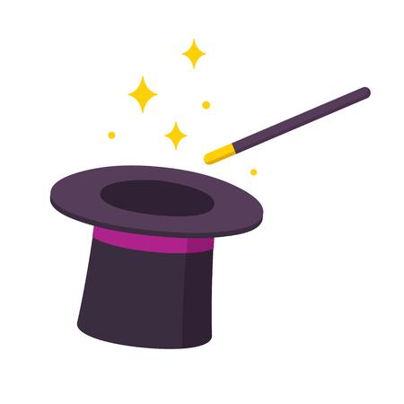 魔術師帽子と魔法の杖アイコン白背景に分離されました。簡単な漫画のベクトル図。