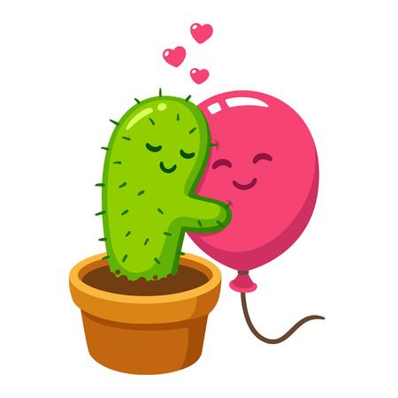 Abbraccio sveglio del pallone e del cactus del fumetto, illustrazione di vettore. L'amore fa male, illustrazione divertente di San Valentino. Archivio Fotografico - 83809295
