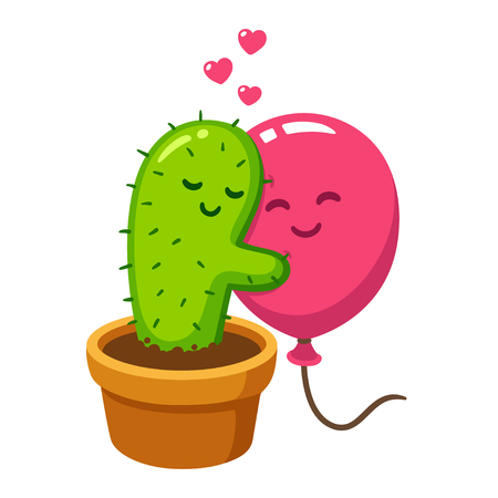 Cute cartoon cactus and balloon hug, vector drawing. Love hurts, funny Valentines day illustration. Иллюстрация