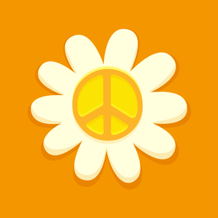 Hippie peace symbol on daisy flower, bright orange vector illustration. Illustration