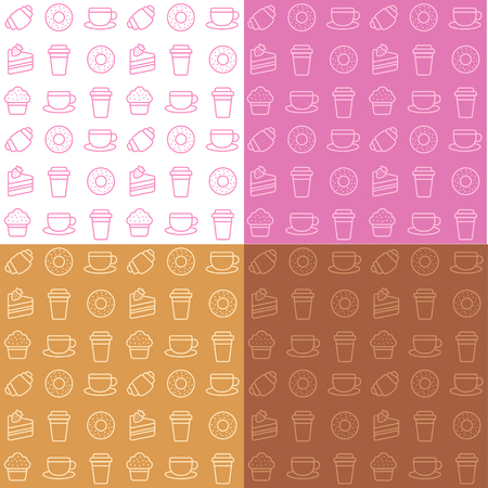 Set of four cafe themed patterns. Modern repeating textures of coffee cups and desserts in different colors.