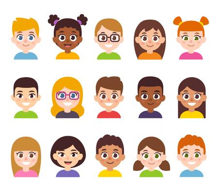 Cartoon children avatar set. Cute diverse kids faces, vector clipart illustration. Illustration