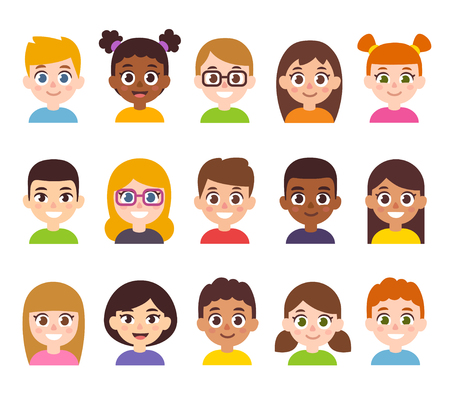 Cartoon children avatar set. Cute diverse kids faces, vector clipart illustration. Vettoriali