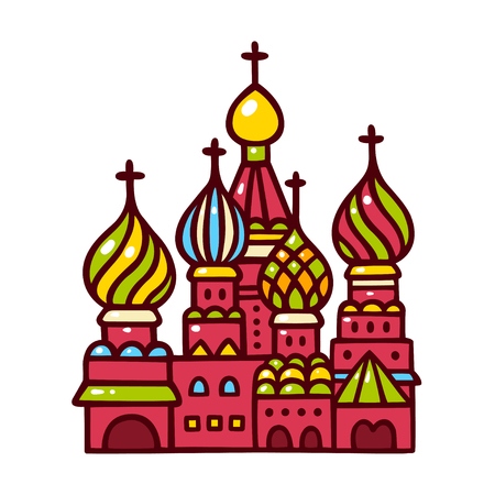 Russia symbol, Saint Basil cathedral. Hand drawn cartoon vector illustration. Moscow Kremlin on Red Square.