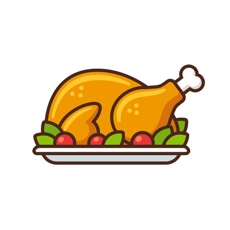 Roast turkey or chicken icon, flat cartoon vector illustration. Thanksgiving day dinner.