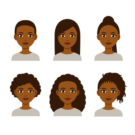 Black women faces with different hair styles. Cartoon African girls with natural hairstyles and straightened hair.