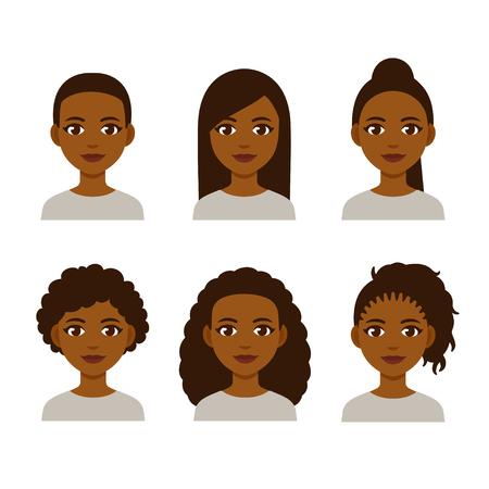 Zwarte vrouwengezichten met verschillende haarstijlen. Cartoon Afrikaanse meisjes met natuurlijke kapsels en rechtgetrokken haar.
