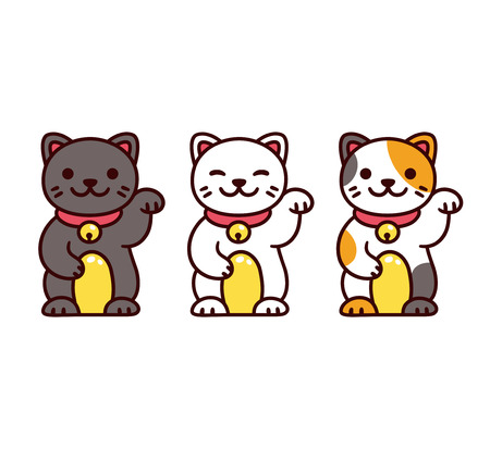 Cute cartoon Maneki Neko, Japanese lucky cats. Black, white and calico Feng Shui kitty vector illustration set. Vettoriali