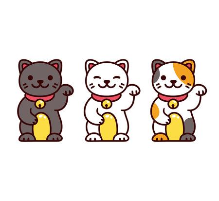 Cute cartoon Maneki Neko, Japanese lucky cats. Black, white and calico Feng Shui kitty vector illustration set. Illustration