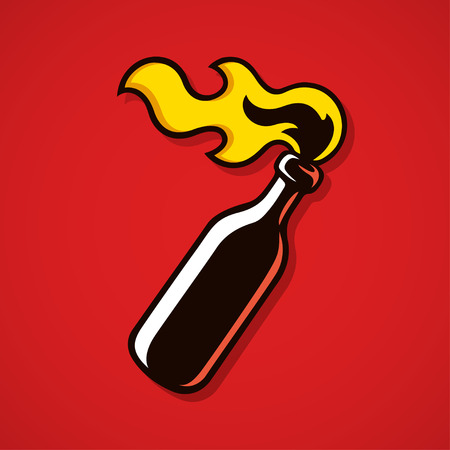 Molotov cocktail bottle with fire on red background. Anarchy and protest vector illustration.