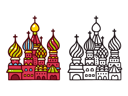 Russian Saint Basil cathedral in Moscow. Hand drawn cartoon vector illustration in color and back line art.